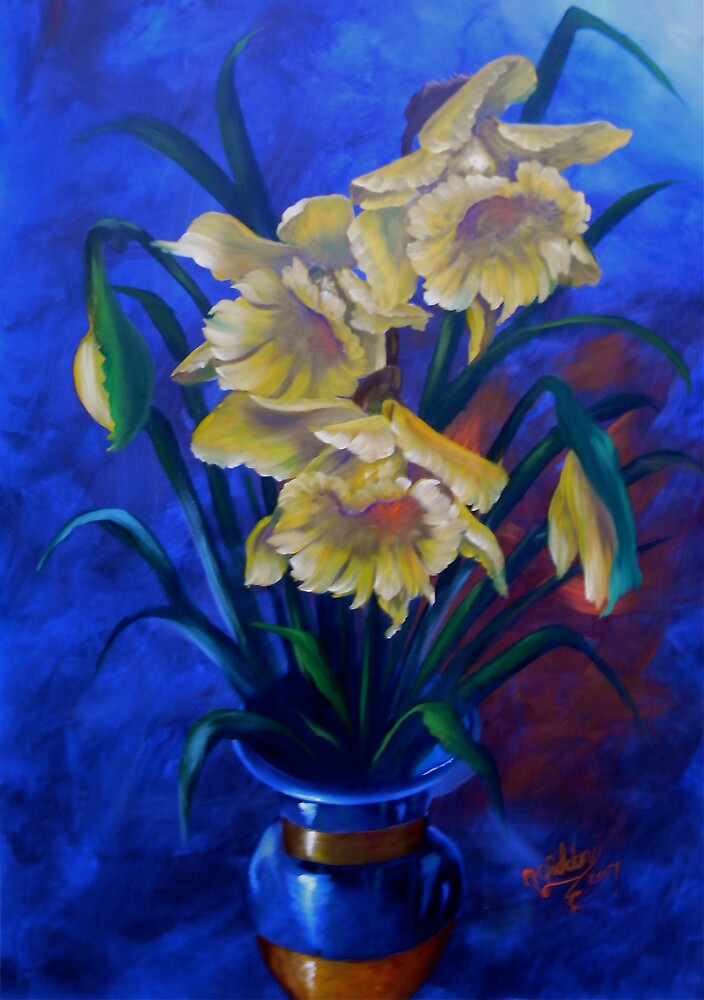 Brilliant Daffodils in Gold Rimmed Vase by Micheal Giddens