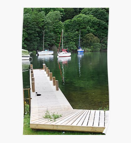 Wooden jetty at Windermere Lake Poster