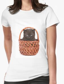 Cute black kitten in a basket Womens Fitted T-Shirt