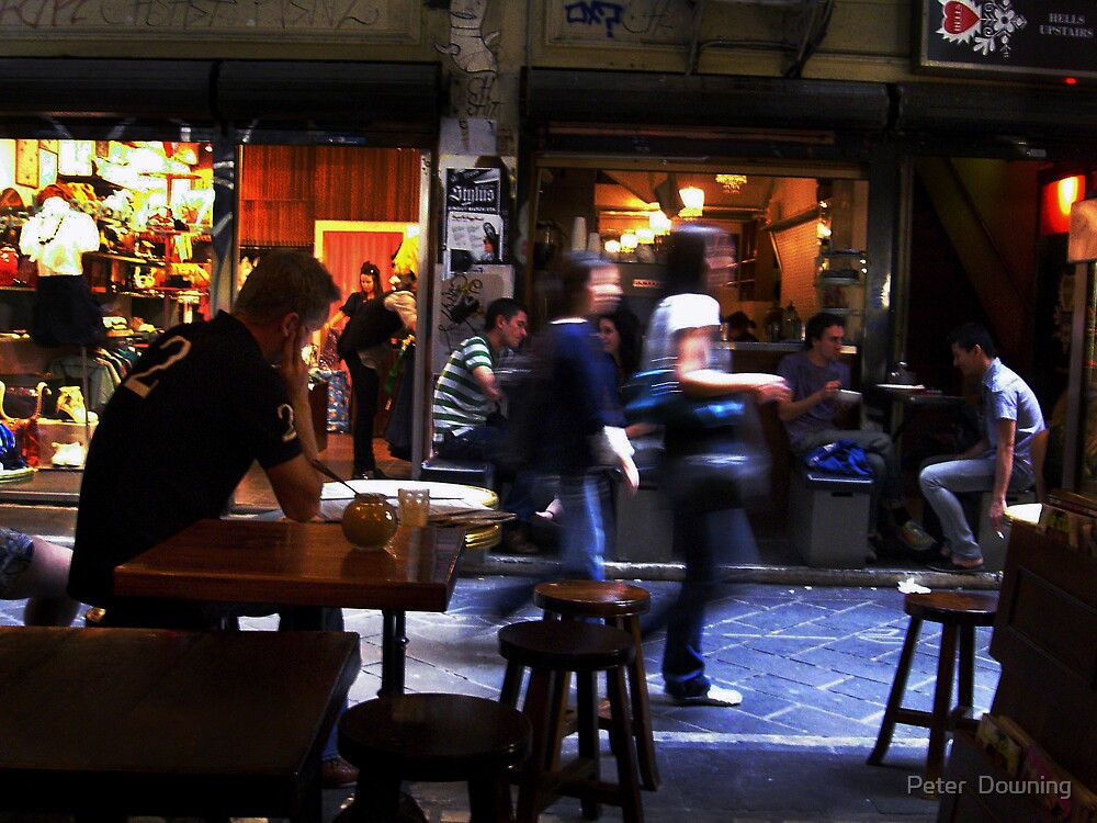 Laneways of Melbourne CBD. Degraves Street by Peter  Downing