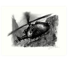 Gazelle Helicopter Ink Drawing Art Print