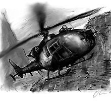 Gazelle Helicopter Ink Drawing by olivercook
