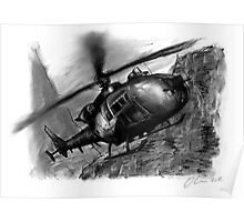 Gazelle Helicopter Ink Drawing Poster