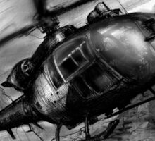 Gazelle Helicopter Ink Drawing Sticker