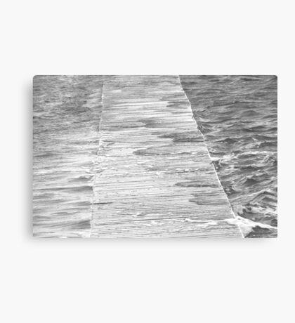 Newcastle Baths Jetty in High Sea Canvas Print