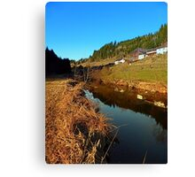 A river, the valley and traditional farmland | waterscape photography Canvas Print