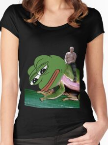 Putin Riding Pepe Frog Women's Fitted Scoop T-Shirt