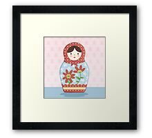 Matryoshka Doll Red & Blue Framed Print