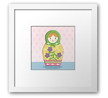 Matryoshka Doll Green Framed Print