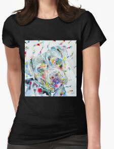WATERCOLOR PIT BULL Womens Fitted T-Shirt
