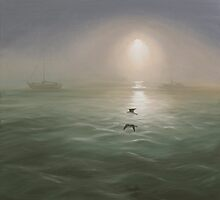 Seagulls in the mist by Elisabeth Dubois