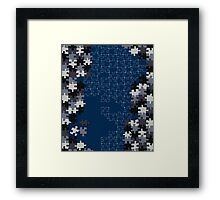 Jigsaw puzzle pieces BLUE Framed Print