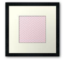 Girly pink white pastel vintage chevron pattern Framed Print