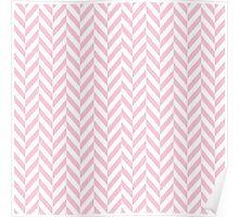 Girly pink white pastel vintage chevron pattern Poster