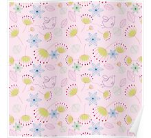 Cute pastel pink yellow birds floral pattern Poster