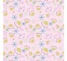 Cute pastel pink yellow birds floral pattern Photographic Print