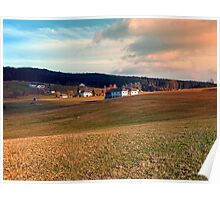 Meadows and farms in rural scenery | landscape photography Poster