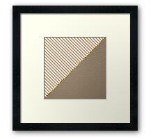 Vintage brown beige faux leather striped pattern Framed Print