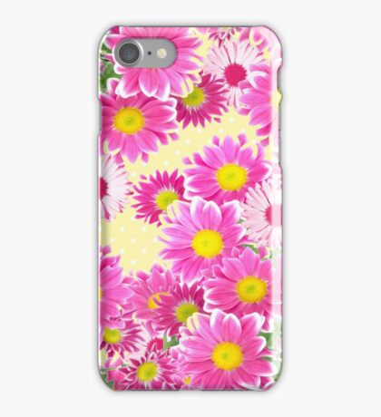 Pink white daisies floral polka dots pattern iPhone Case/Skin