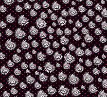 Vintage white paisley pink black polka dots by Maria Fernandes