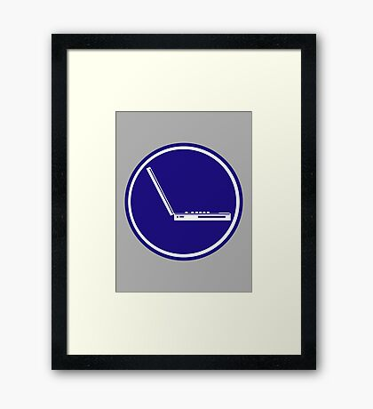 LAPTOP PARKING ROAD SIGN Framed Print