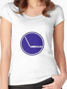 LAPTOP PARKING ROAD SIGN Women's Fitted Scoop T-Shirt