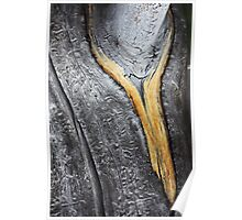 melting wooden gold: golden necklace around a silver neck Poster
