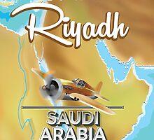 Riyadh Saudi Arabia vintage travel poster. by Nick  Greenaway