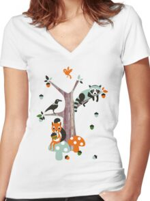 Friends of the forest Women's Fitted V-Neck T-Shirt