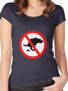 DOG NO POOP ROAD Traffic SIGN Women's Fitted Scoop T-Shirt