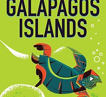 Galapagos Islands vintage travel poster art. by Nick  Greenaway