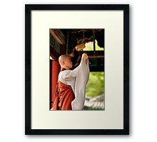 Ringing the Bell - Beopju Temple, South Korea Framed Print