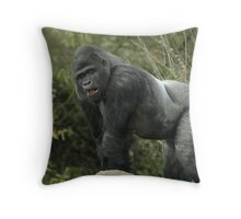 West Lowland Silverback Gorilla Throw Pillow
