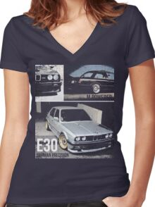 BMW E30 Women's Fitted V-Neck T-Shirt