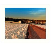Country road through winter wonderland   landscape photography Art Print