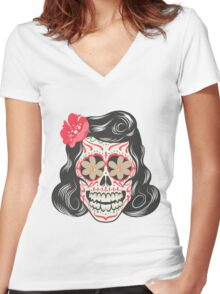 Skull girl art Women's Fitted V-Neck T-Shirt