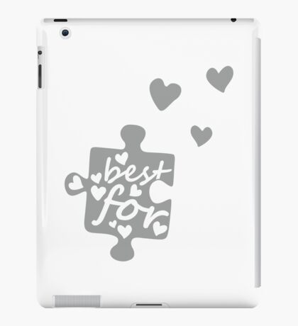 White Best Friends Forever Connection Puzzle (left) iPad Case/Skin