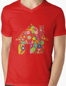 Floral colorful abstract  Mens V-Neck T-Shirt