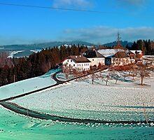 Village scenery in winter wonderland | landscape photography by Patrick Jobst