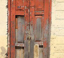 Broken Red Wood Door by rhamm