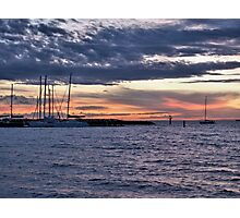 Cloudy sunset yachts Photographic Print