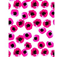poppies bright pink hot prink modern minimal abstract painting watercolor painting fun summer happy Photographic Print