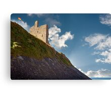 ballybunion castle on the cliff face Canvas Print