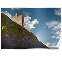 ballybunion castle on the cliff face Poster