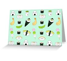 Kawaii Bento Box Print - Mint Greeting Card