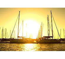 Golden sky over yachts Photographic Print