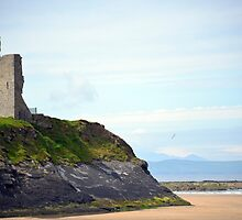 ballybunion castle on the cliffs of a beautiful beach by morrbyte