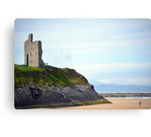 ballybunion castle on the cliffs of a beautiful beach Canvas Print