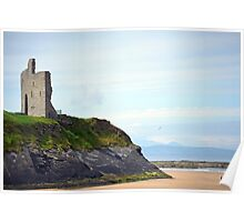 ballybunion castle on the cliffs of a beautiful beach Poster