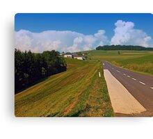 Country road and cloudy blue sky | landscape photography Canvas Print